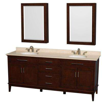 Hatton 80 in. Vanity in Dark Chestnut with Marble Vanity Top in Ivory, Sink and Medicine Cabinet