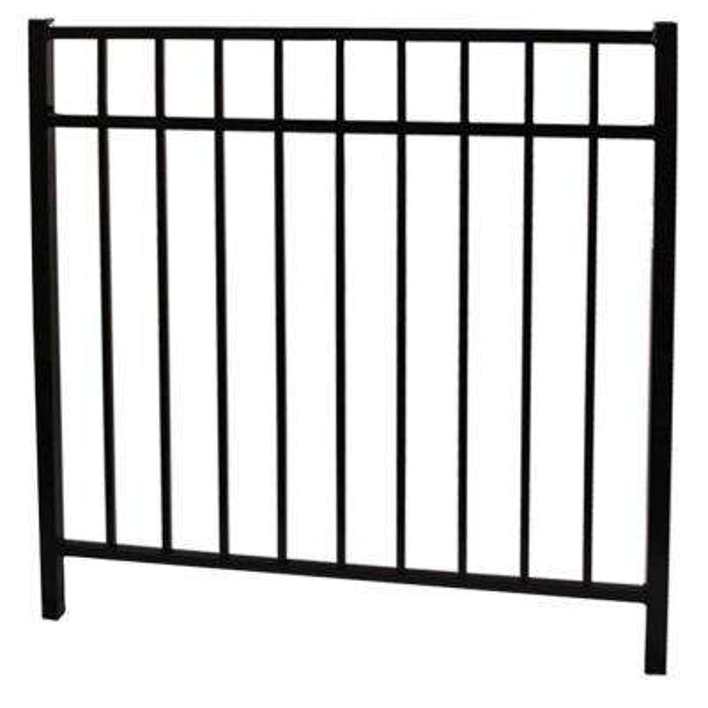 Vinnings 4 ft. W x 4.5 ft. H Black Aluminum Fence Gate