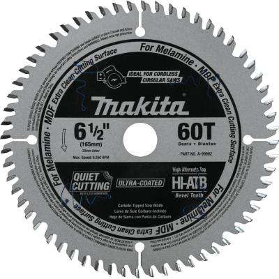 6-1/2 in. 60T (ATB) Carbide Tipped Cordless Plunge Saw Blade, MDF, Laminate