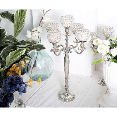 Silver Aluminum Candelabra with Bead Accents