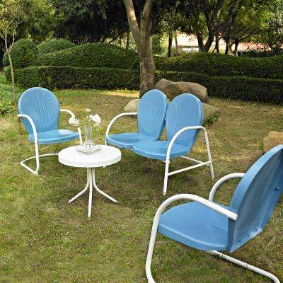 Griffith Blue 4-Piece Metal Patio Conversation Set