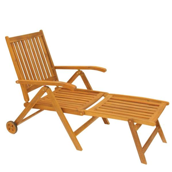 55 in. Acacia Wood Outdoor Patio Chaise Lounge Chair