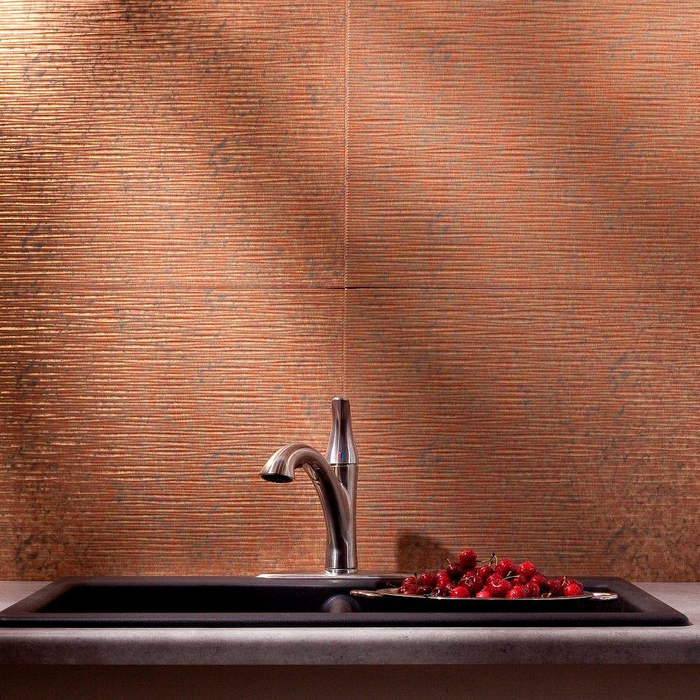 Fasade 24 in. x 18 in. Ripple PVC Decorative Backsplash Panel in Cracked Copper