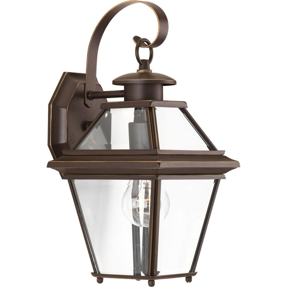 Burlington Collection 1-Light 12.9 in. Outdoor Antique Bronze Wall Lantern