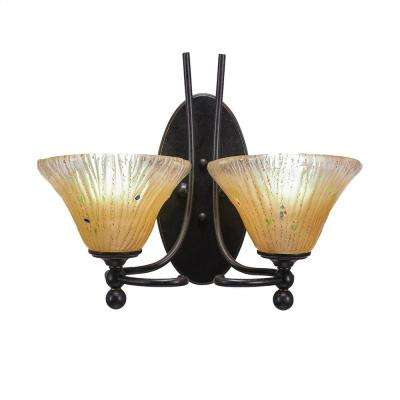 2-Light Dark Granite Sconce with Amber Ribbed Glass