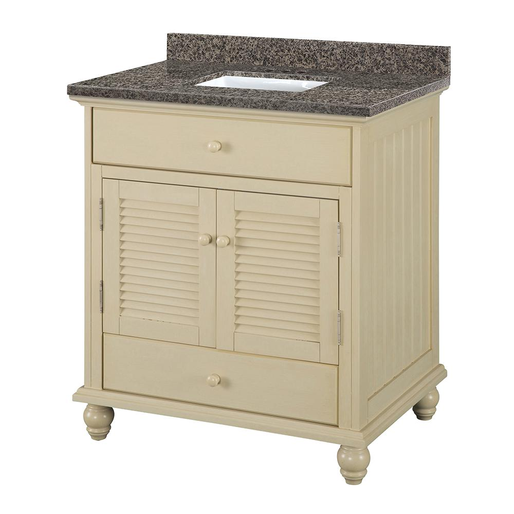 Home Decorators Collection Cottage 31 in. W x 22 in. D Vanity in Antique White with Granite Vanity Top in Sircolo with Sink was $849.0 now $594.3 (30.0% off)