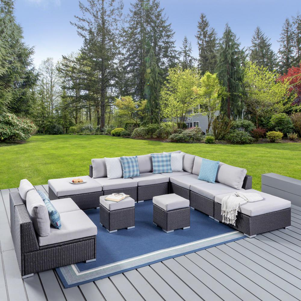 Le House Santa Rosa Grey 11 Piece Wicker Outdoor Sectional Set With Silver Cushions