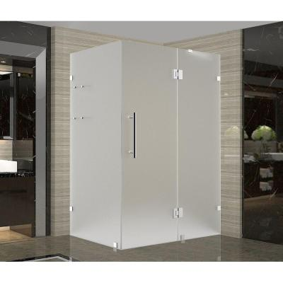 Avalux GS 39 in. x 38 in. x 72 in. Frameless Hinged Shower Enclosure with Frosted Glass and Shelves in Stainless Steel