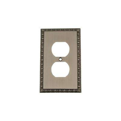 Egg and Dart Switch Plate with Outlet in Antique Pewter