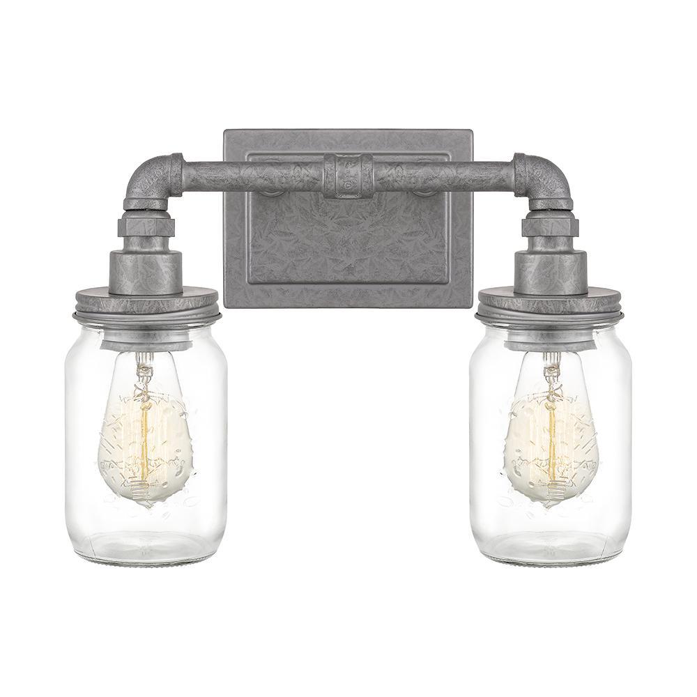 Squire 2-Light Galvanized Vanity Light