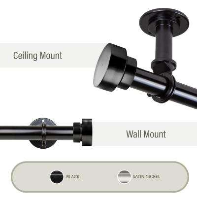 Bonnet Ceiling 66 in. - 120 in., 1 in. Dia Curtain Rod/ Room Divider in Black