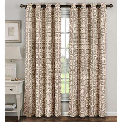 Semi-Opaque Greek Key Cotton Blend Extra Wide 84 in. L Grommet Curtain Panel Pair, Taupe (Set of 2)