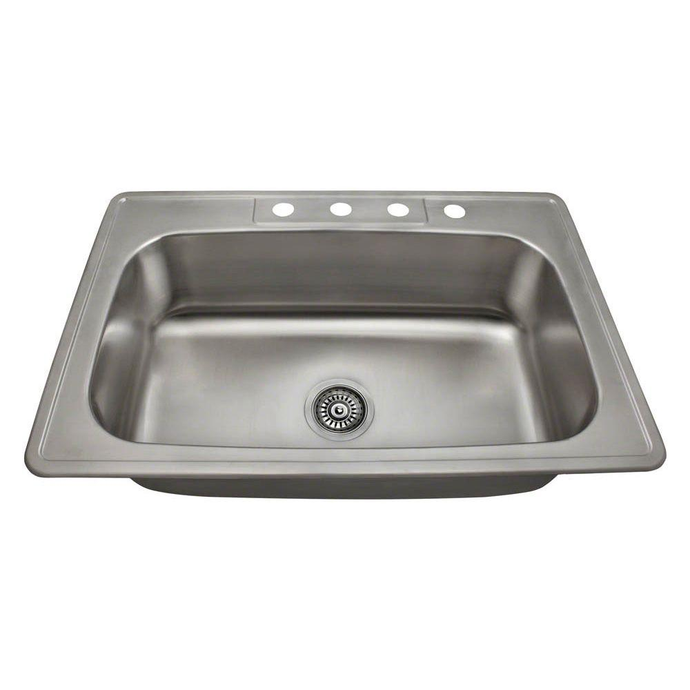 Mr Direct Drop In Stainless Steel 33 In 4 Hole Single Bowl Kitchen Sink Us1030t The Home Depot