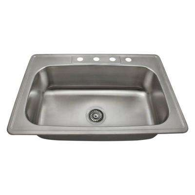 Drop-In Stainless Steel 33 in. 4-Hole Single Bowl Kitchen Sink