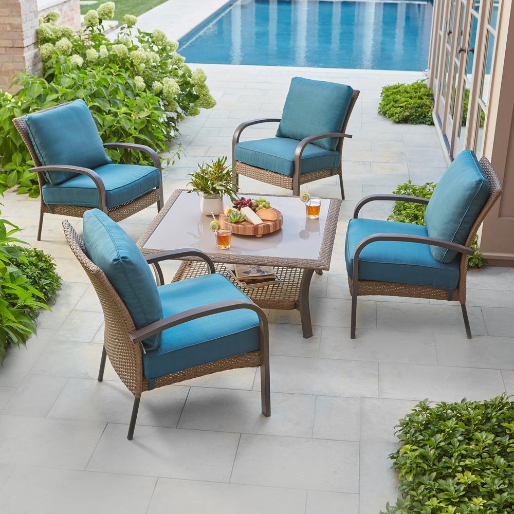 Corranade 5-Piece Wicker Patio Conversation Set with Charleston Cushions