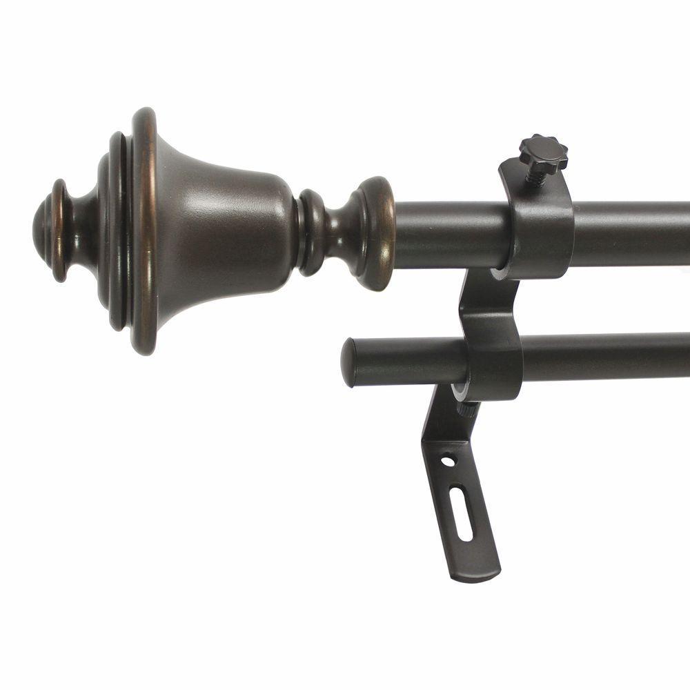 26 in. - 48 in. 5/8 in. Bell Double Rod Set in Vintage Bronze