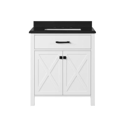 Ainsley 30 in. W x 22 in. D Vanity in White with Granite Vanity Top in Black with White Basins