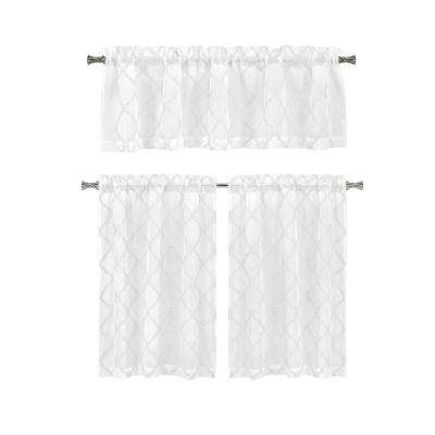 Devyn White Kitchen Curtain Set - 56 in. W x 15 in. L in (3-Piece)
