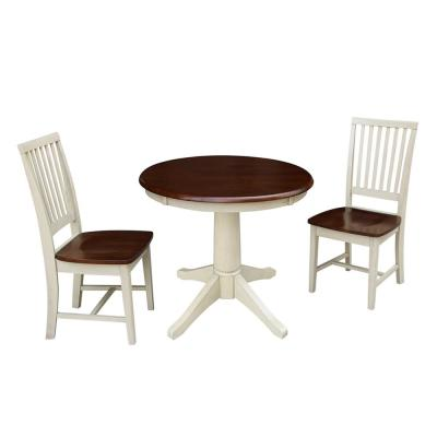 3-Piece Set, Almond and Espresso Solid Wood 30 in. Round Table and 2-Mission Chairs
