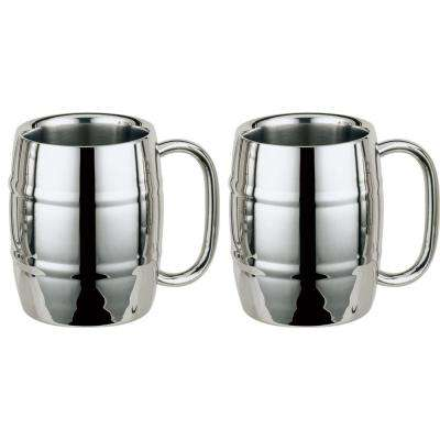 Volksfest 14 oz. Stainless Steel Double Walled Beer Mugs (Set of 2)