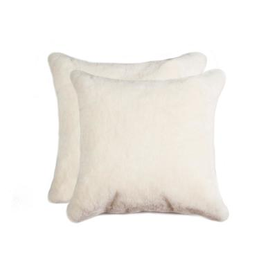 Nelson Sheepskin Natural Solid 18 in. x 18 in. Throw Pillow (Set of 2)