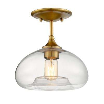 1-Light Natural Brass Semi-Flush Mount
