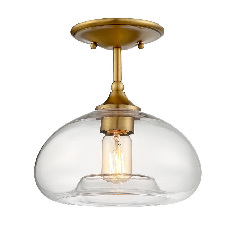 1-Light Natural Brass Semi-Flushmount