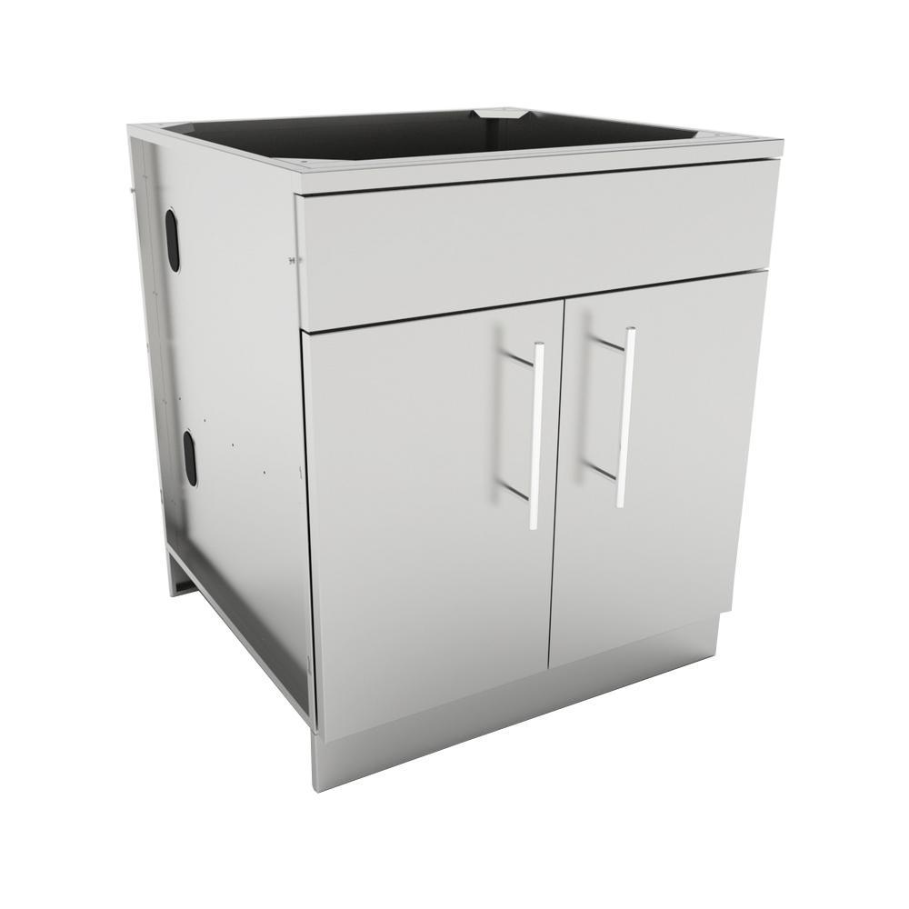 Designer Series 304 Stainless Steel 30 in. x 34.5 in. x 28.25 in. Double Door Base Cabinet with Shelf, False Top Panel