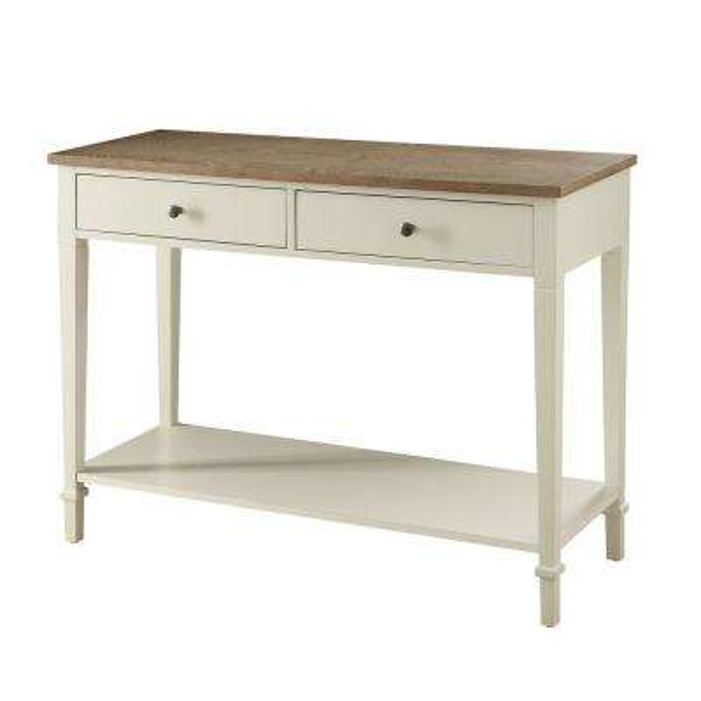 Tevoli Polar White and Rustic Oak Console Table