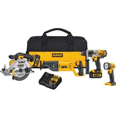 20-Volt MAX Lithium-Ion Cordless Combo Kit (4-Tool) with (2) Batteries 3Ah, Charger and Contractor Bag