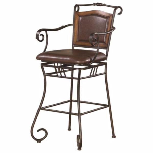 45.5 in. H Black and Brown Wood Accented Metal Bar Stool with Upholstered Seat