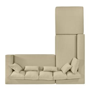 Sensational Handy Living Harmony Sectional With Ottoman In Creamy Tan Ncnpc Chair Design For Home Ncnpcorg