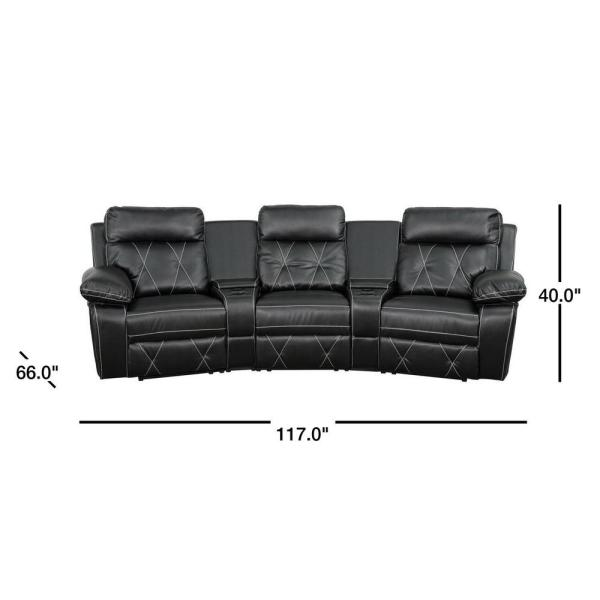 3 Seat Reclining Black Leather