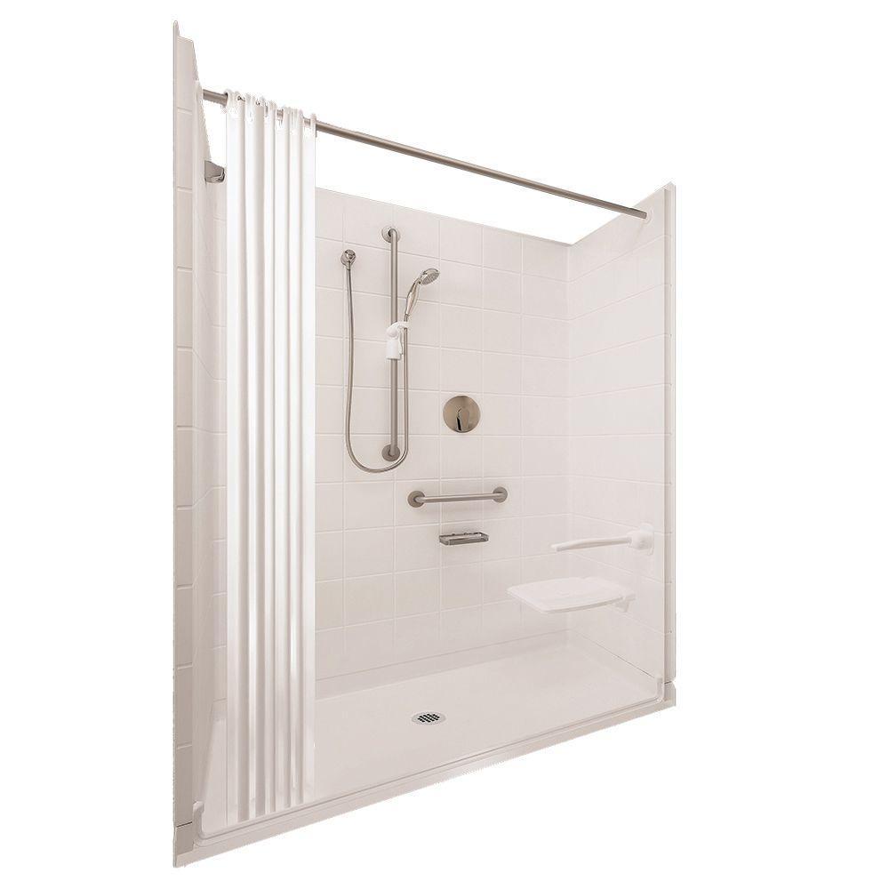 Ella Elite Satin 33-4/12 in. x 60 in. x 77-1/2 in. 5-piece Barrier Free Roll In Shower System in White with Center Drain