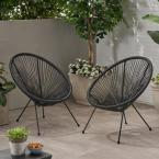 Ansor Black Metal Outdoor Lounge Chair (2-Pack)