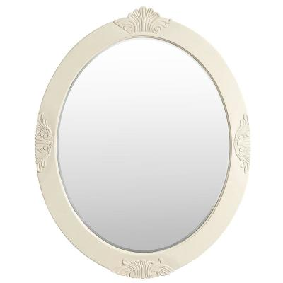 30 in. W x 38 in. H Framed Oval Beveled Edge Bathroom Vanity Mirror in antique white