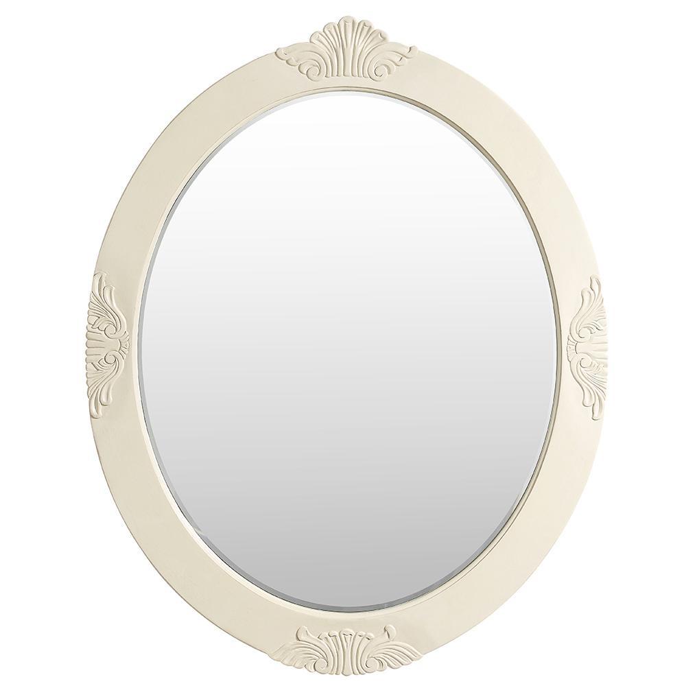 Winslow 30 in. x 38 in. Single Framed Wall Mirror in Antique White