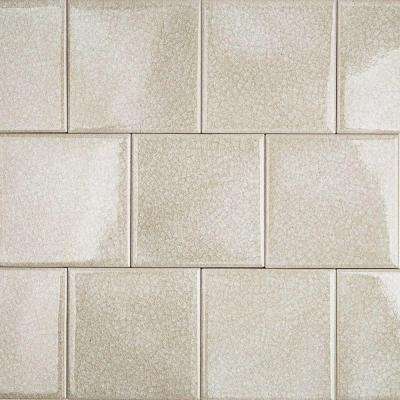 Roman Selection Iced Light Cream 4 in. x 4 in. x 8 mm Glass Mosaic Tile