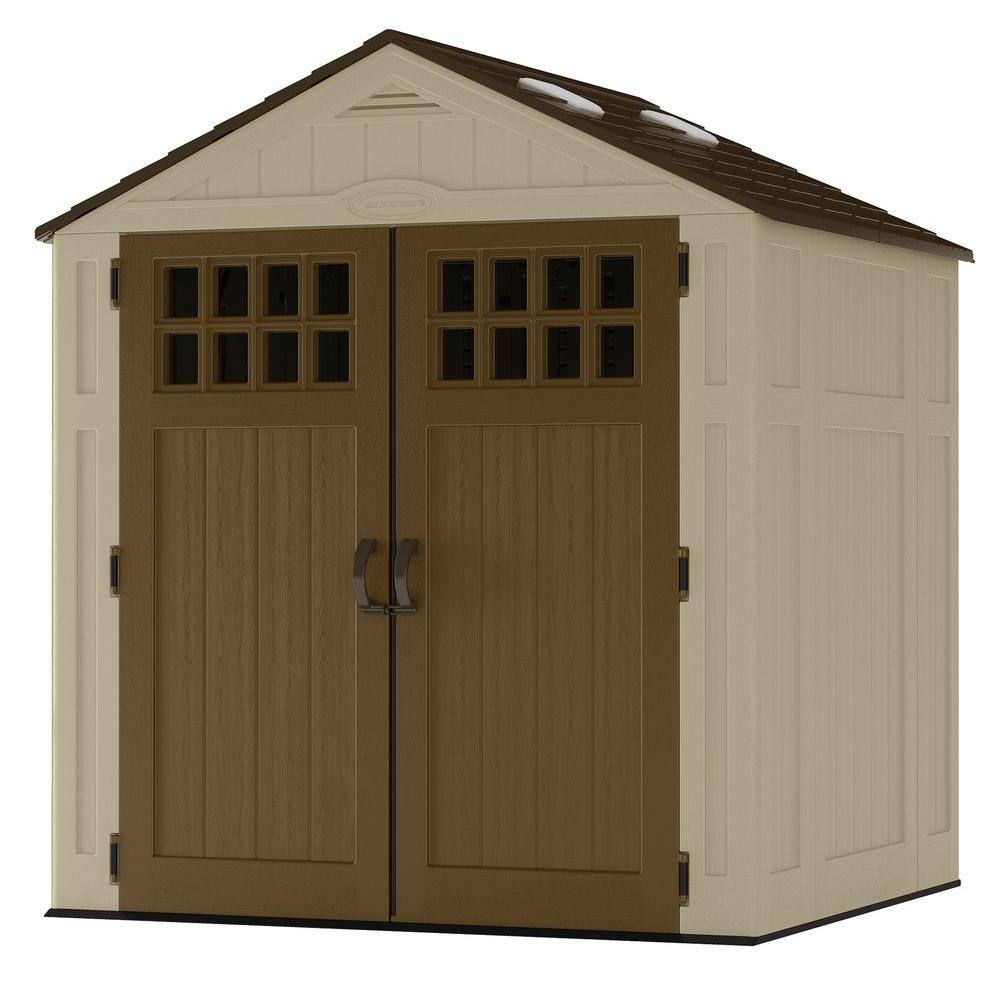 suncast everett 6 ft 8 in x 5 ft 6 in resin storage shed bms6510d the home depot