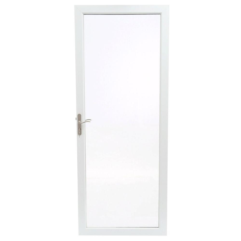 Andersen 32 in. x 80 in. 2000 Series White Universal Fullview Aluminum Storm Door with Nickel Hardware