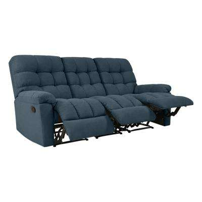 3-Seat Tufted Recliner Sofa in Caribbean Blue Plush Low-Pile Velvet