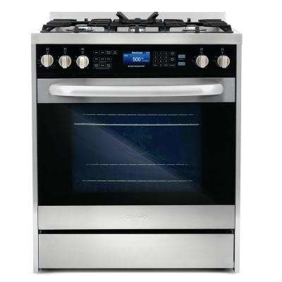 Commercial-Style 30 in. 5 cu. ft. Single Oven Dual Fuel Range with Convection Oven in Stainless Steel