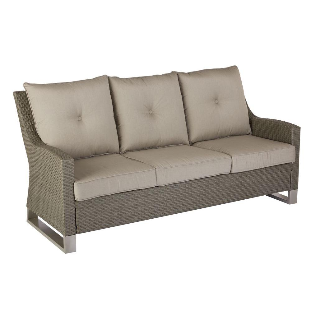 Home Decorators Collection Broadview Patio Sofa With Sunbrella Spectrum Dove Cushions