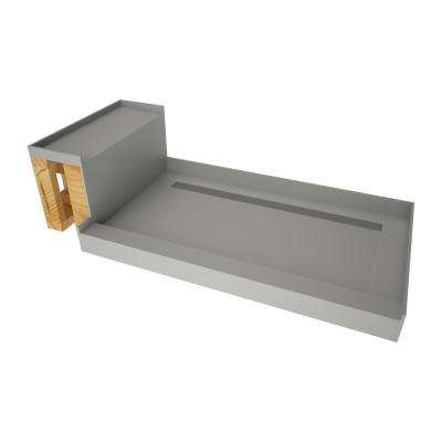 34 in. x 60 in. Single Threshold Shower Base in Gray and Bench Kit with Back Drain and Solid Brushed Nickel Trench Grate