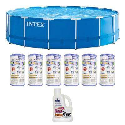 15 ft. x 48 in. Round Metal Frame Pool Pool Set with 6 Filter Cartridges Plus Natural Chemistry PHOS free