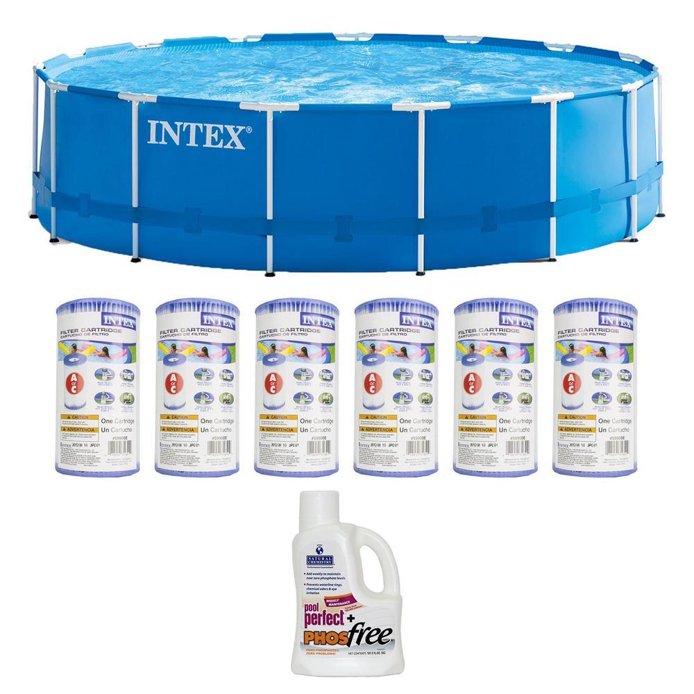 15 ft. x 48 in. Round Metal Frame Pool Pool Set with 6 Filter Cartridges Plus Natural Chemistry PHOS free