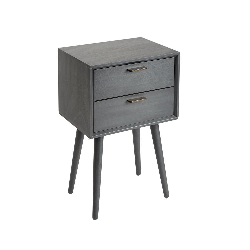 Olsen Gunmetal Gray Mid-Century 2-Drawer Accent Table