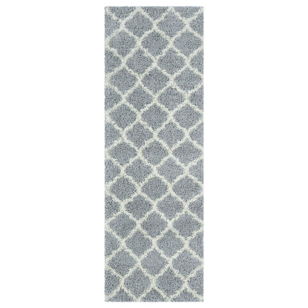 Shag Collection Gray Moroccan Trellis Design 3 ft. x 8 ft. Runner Rug
