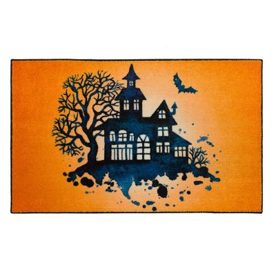 Mohawk Home Haunted Silhouette Orange 2 ft. x 3 ft. 4 in. Halloween Indoor Area Rug, Orange/ Black/ Blue