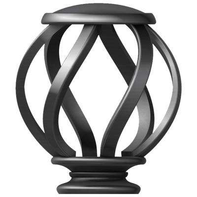 Mix and Match 1 in. Swirl Cage Curtain Rod Finial Set in Gunmetal (2-Pack)